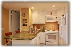Kitchen with gorgeous granite counters