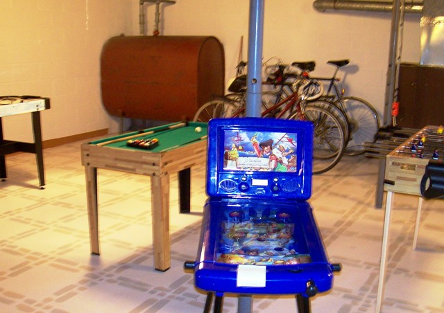 Adult bikes, pinball and other table games.